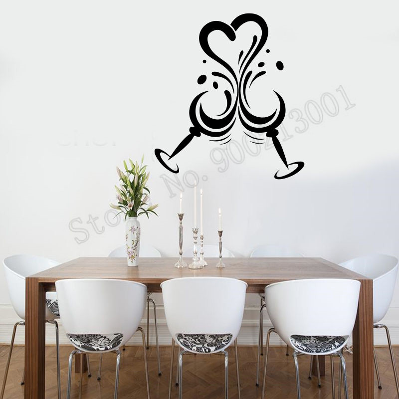 Wall Sticker Love Heart Wine Wall Decoration Wine Glasses Poster Vinyl Art Removeable Mural Beauty Diy Ornament LY617 in Wall Stickers from Home Garden