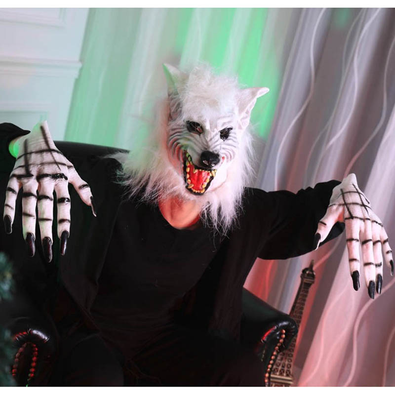 Adult children latex white brown wolf mask gloves Halloween party cosplay costume accessories decoration full face ghost mask