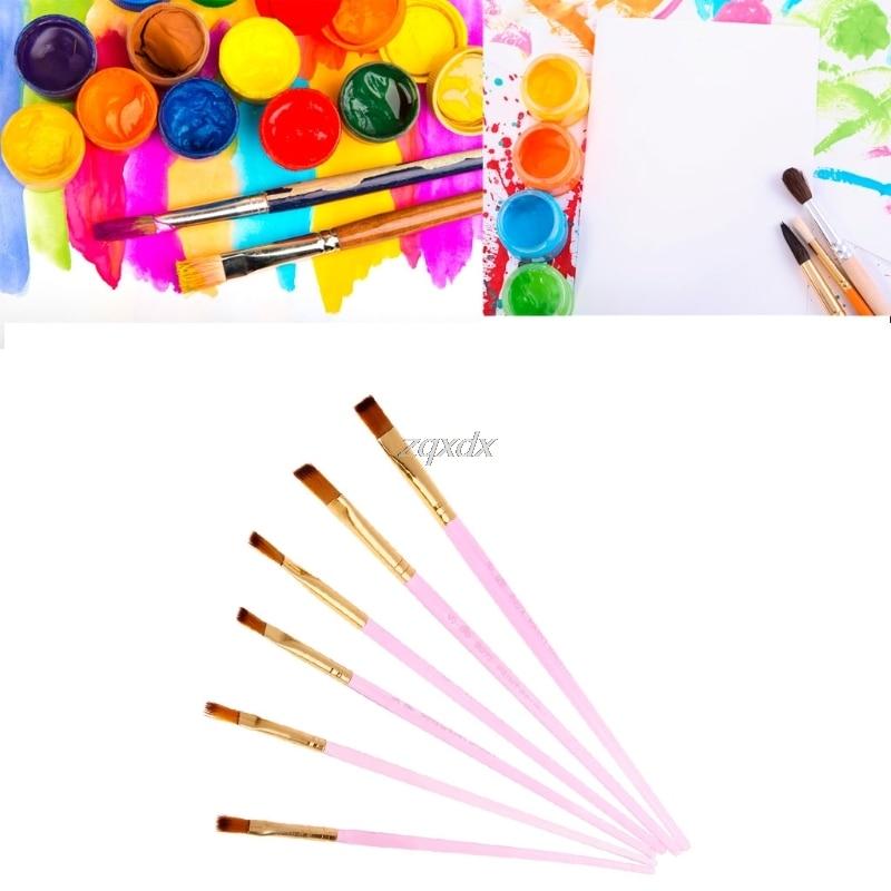 6Pcs/Set Artist Paint Brush Set Nylon Hair Oil Watercolor Acrylic Painting Drawing G12 Drop ship