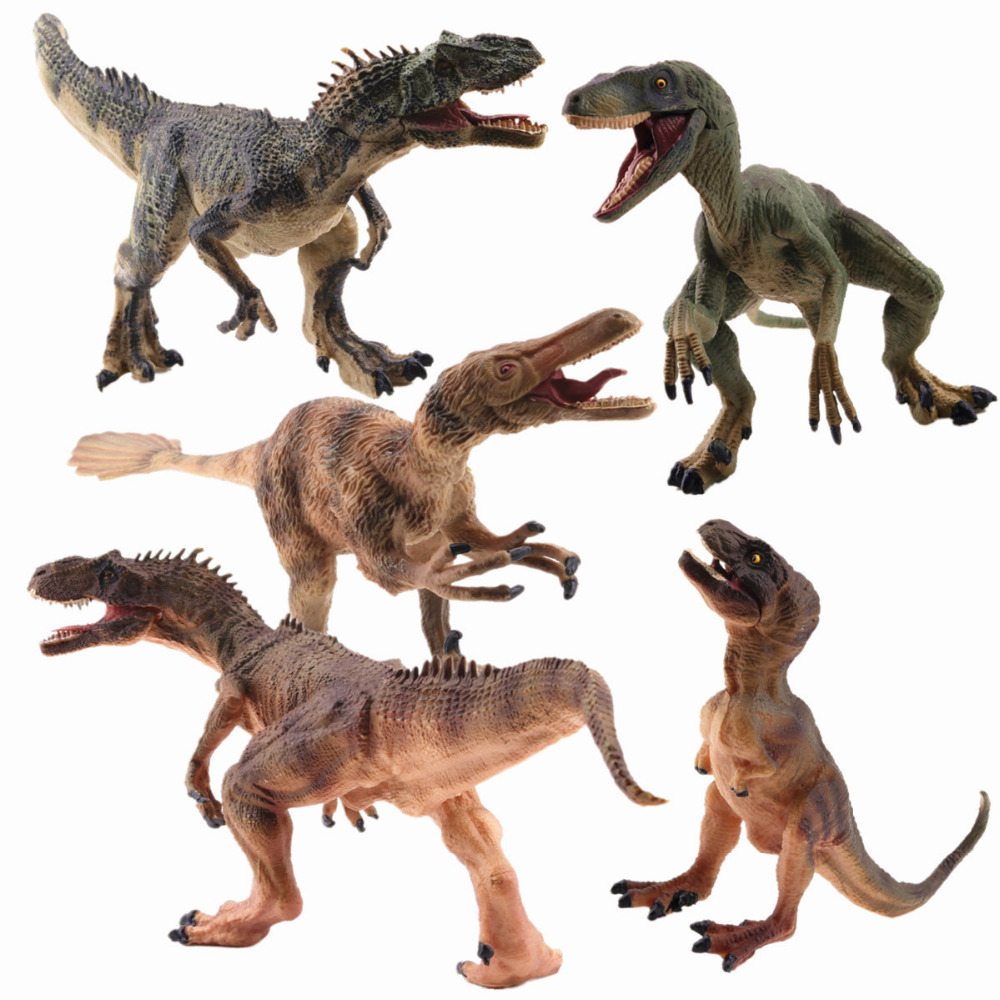 REikirc 5pcs/Set Raptor Series Allosaurus Velociraptor Tyrannosaurus Rex Action&Toy Figures Jurassic Dragon Dinosaur Toys Model cool big dinosaur model toys vivid animal pvc figures tyrannosaurus rex triceratops allosaurus strong powerful animals boys gift