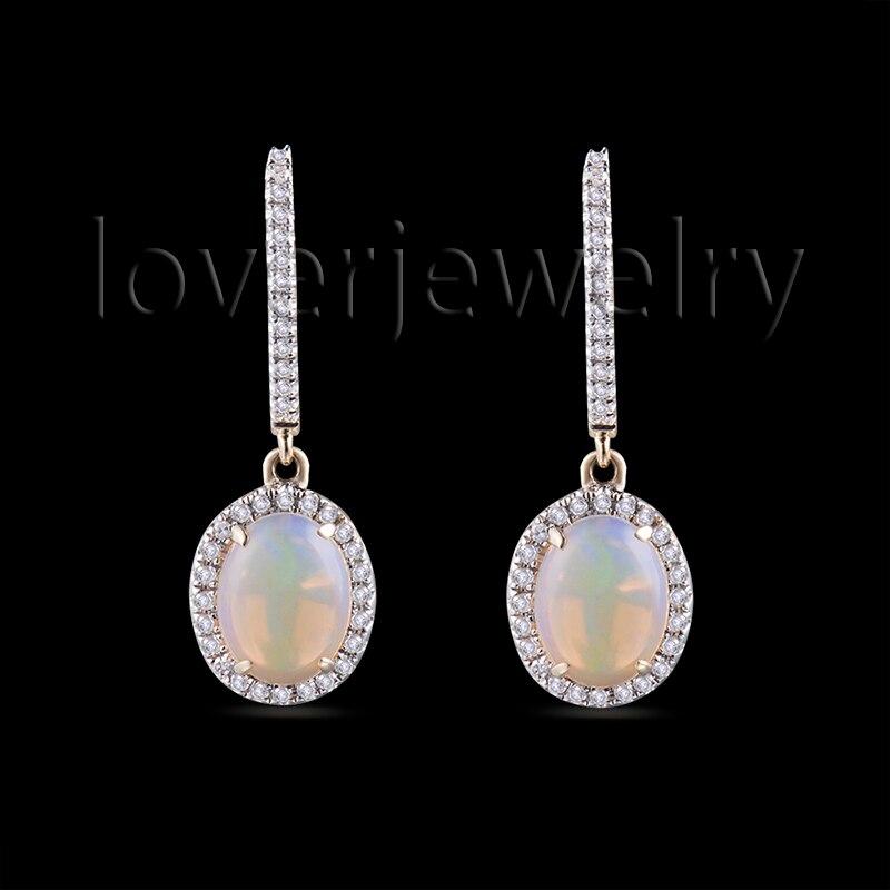 Luxury Women Fire Opal Earrings In Real 14Kt 585 Yellow Gold For Pure Wedding E00038B