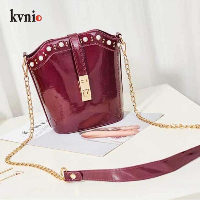 Handbag For Women Mini Bucket Bags Patent Leather Shoulder Bag Pearls  Designer Crossbody Bags 2018 Luxury Tote Bag High Quality