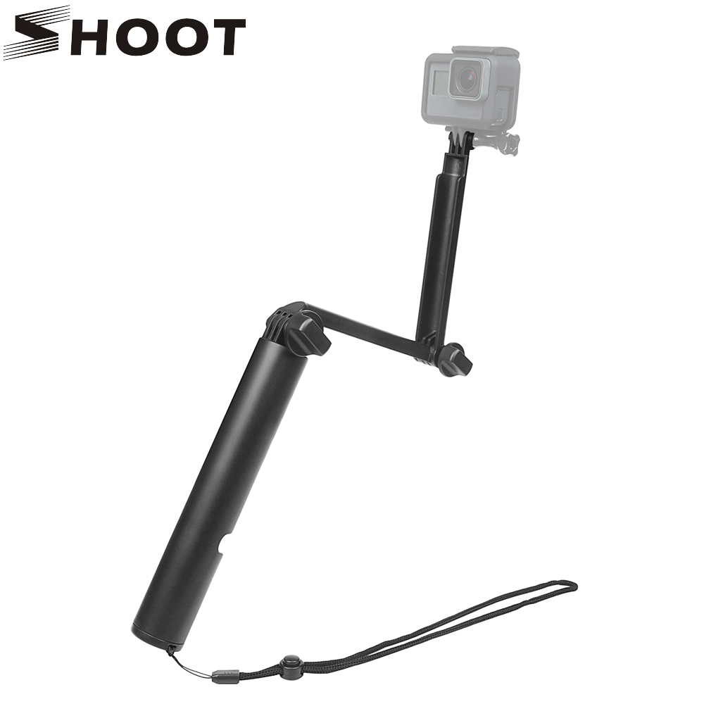 SHOOT 3 Way Grip Selfie Stick Monopod for GoPro Hero 5 6 4 Xiaomi Yi 4k Sjcam Sj4000 Sj7 M10 Eken H9 H9r Go Pro Hero Accessories