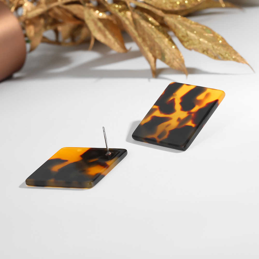 Thời Trang mới Trang Sức Acrylic Hình Học Tròn Nhỏ Bông tai Nữ Tuyên Bố Nhựa Bông Tai Hoa Mai Rùa Bông Mắt To D'oreille