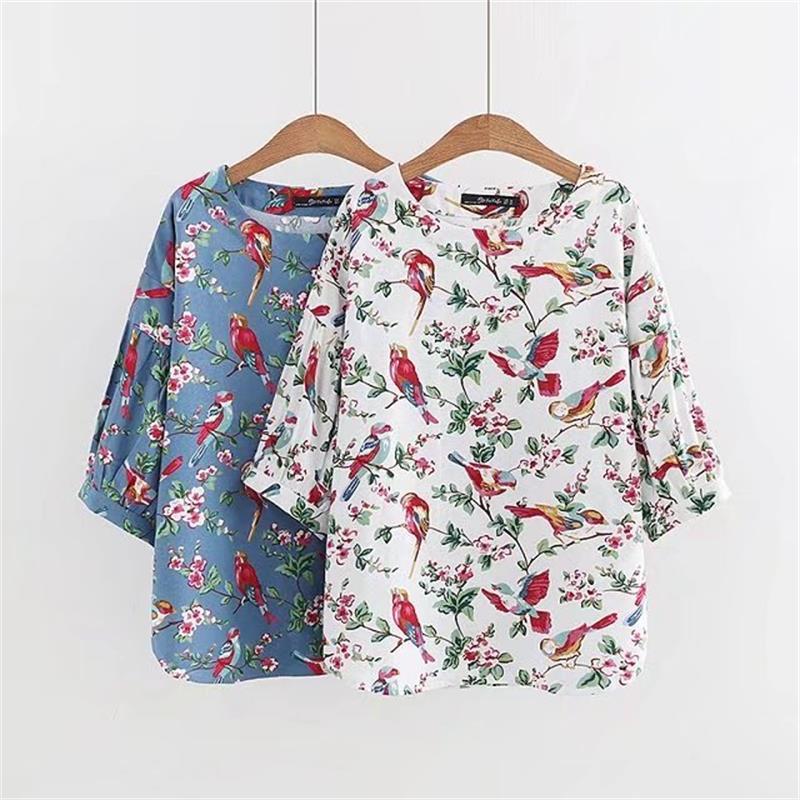 Plus size Print Three Quarter sleeve women t shirt 2017 kawaii O Neck t-shirt women tops tshirt spring & autumn tee shirt femme