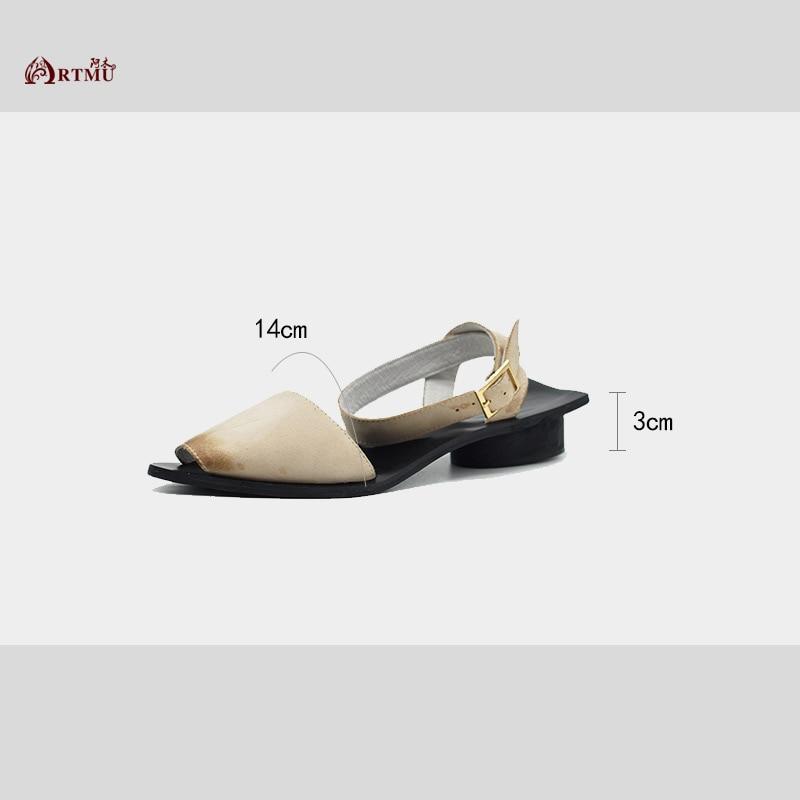 Robe Femmes À Lady Mujer Bout Mode En La Boucle Diapositives Zapatos Chaussures Femme Sandales Pointu Artmu Cuir Beige noir Main Sandalias x0ZwF11
