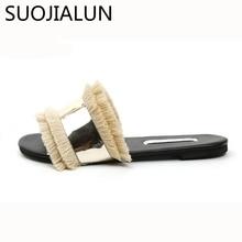 2019 Women Slippers Metal Bling Flip Flops Fur Fringe Flat Slides Outside Ladies Shoes Summer Spring Sandals New