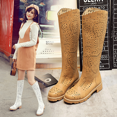 WENDY 2017 Summer boots for girls Flat with high tube breathable summer sandals boots cool boots Hollow children shoes