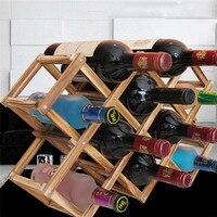 Nowy przyjazd Klasyczne Drewniane Red Wine Rack Wyświetlacz Półka Organizator Składany 10 Uchwyt Na Butelkę Piwa Kitchen Bar Domu Wystrój Hotelu
