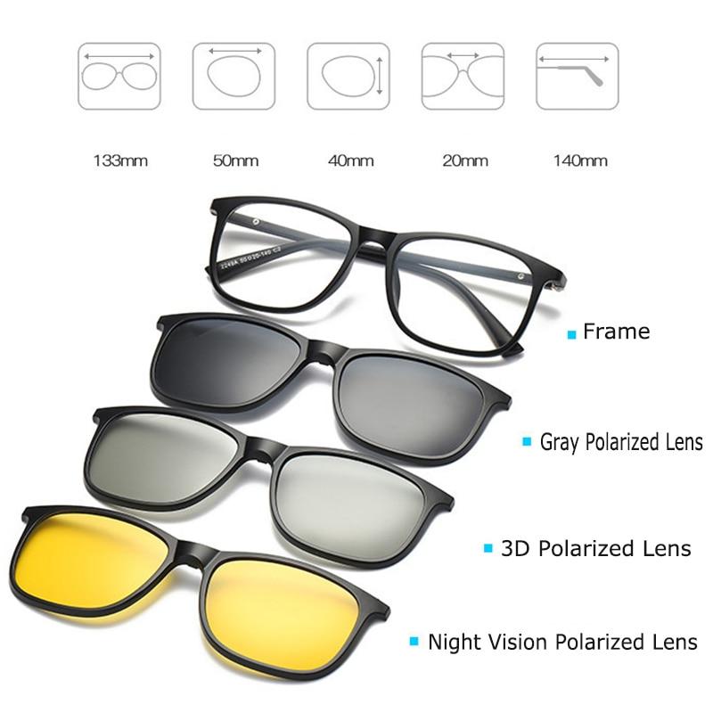 Optische Brillengestell Männer Frauen Mit 3 Polarisierten 3D Clip - Bekleidungszubehör - Foto 4