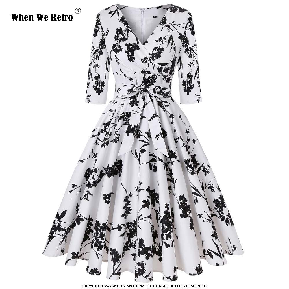 Flowers Femmes Noir Quand 3 À White Coton Robe cou Midi Grande V Nous 4 Manches Rétro Vintage Blanc Fleur Automne Lignes Floral Taille Sd0006 Black KF1lJc