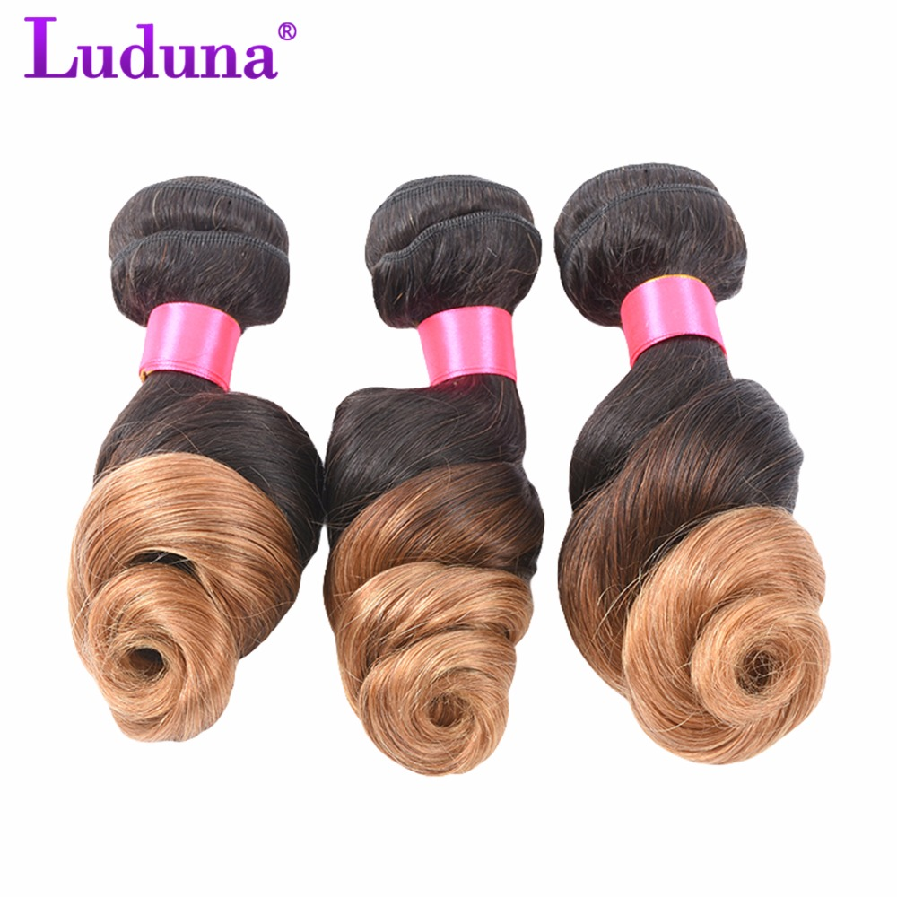 Luduna Ombre Brazilian Loose Wave Hair Bundles Human Hair Weave Bundles 1B/27 Color 2 Tone Non-remy Hair Extensions Can Buy 4Pcs