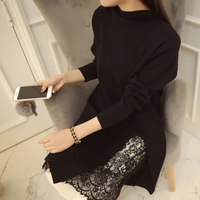Kobieta sweter 2016 Wiosna Nowy Słodkie Pełne Rękawem Średniej Długości Boku Upust Koronki Wykańczający Pullover Kobiety Plus Rozmiar kobieta odzież
