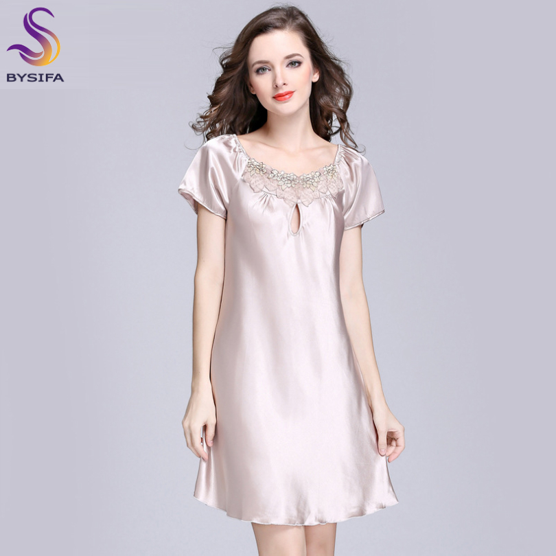 2017 New Sweet Young Women Silk Nightgown Printed Fashion Knee-length Girl Sleepwear Summer Ladies Sleepshirts Pink,Camel,Blue
