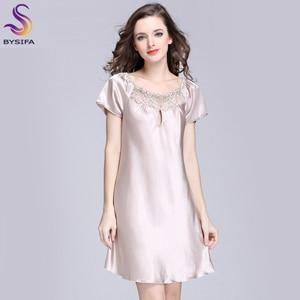 Image 1 - 2020 New Sweet Young Women Silk Nightgown Printed Fashion Knee length Girl Sleepwear Summer Ladies Sleepshirts Pink,Camel,Blue
