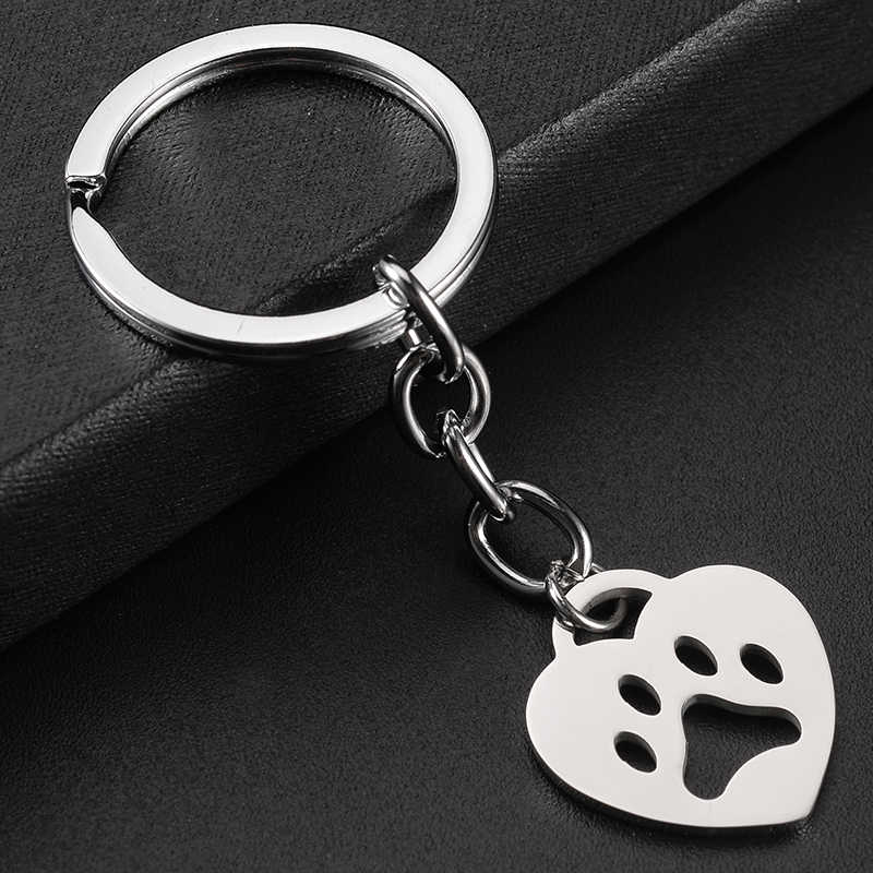 JWEIJIAO จี้รูปหัวใจน่ารัก little Dog Paw พิมพ์พวงกุญแจ 30 มม.ความยาว Link Chain Keyrings ผู้ถือหัวเข็มขัดเครื่องประดับ SKU24