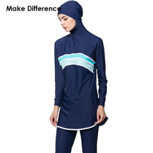 Make Difference Modest Muslim Swimwear Islamic Swim Wear Cloth 2 Pieces Muslim Swimsuit Connected Hijab Burkinis for Women Girls
