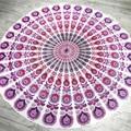 Красивый Фиолетовый Печати Павлина Пляжное Полотенце Yoga Мат Круглый Мандала Полотенца Круглый Пляжное полотенце L38349-5