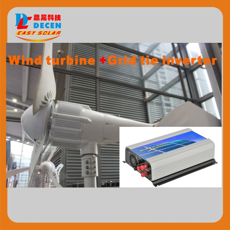 MAYLAR@ 1000W 24V Wind Turbine Dolphin+1000W 22-60VDC Wind Grid Tie Inverter maylar 300w wind grid tie inverter for 48v dc wind turbine 22 60vdc 90 260vac 50hz 60hz no need controller and battery