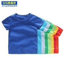 Летние дышащие детские топы для девочек; Однотонная футболка из чистого хлопка для мальчиков; коллекция года; короткая детская одежда с круглым вырезом и короткими рукавами