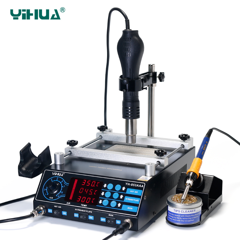 Image 3 - YIHUA 853AAA 1350W Preheating Station PCB Preheater Soldering Station BGA Rework Station Soldering Iron Heat Gun Welding Station-in Soldering Stations from Tools