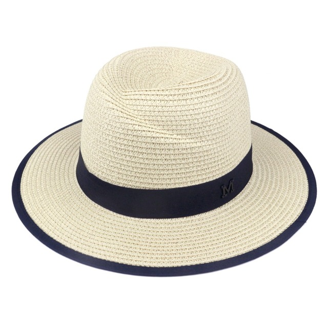 67bf6e3b41fe1 LNPBD 2017 hot New Elegant Black Jazz Hats For Women White Sun Hat Men  Formal Blue Summer Beach Cap Letter M Fedora Straw Hat