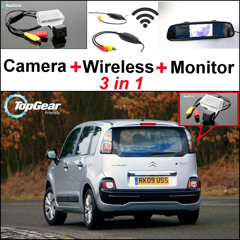 3 in1 Special Rear View Camera + Wireless Receiver + Mirror Monitor Back Up Parking System For Citroen C3 Picasso 3 in1 special rear view camera wireless receiver mirror monitor back up parking system for kia forte k3 cerato 2012 2015