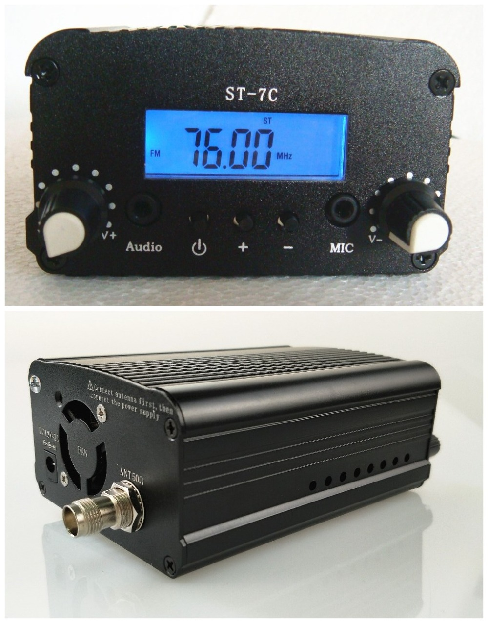 1W/7W 12V 3A ST-7C 76-108MHZ stereo PLL FM transmitter broadcast radio station niorfnio 1w 6w pll fm transmitter mini radio stereo station broadcast with lcd display only host for radio y4339d