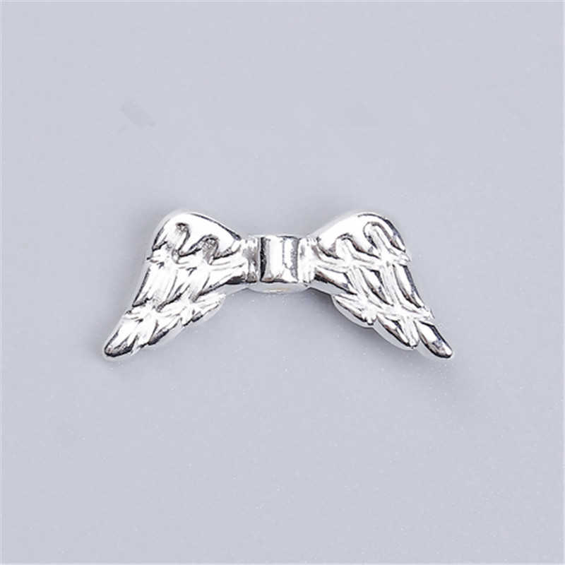 "DoreenBeads Zinc Based Alloy Spacer Beads Wing Silver Color DIY Findings 19mm( 6/8"") x 8mm( 3/8""), Hole: Approx 1.2mm, 10 PCs"