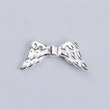 "DoreenBeads Zinc Based Alloy Spacer Beads Wing Silver Color DIY Findings 19mm( 6/8"") x 8mm( 3/8""), Hole: Approx 1.2mm, 10 PCs(China)"