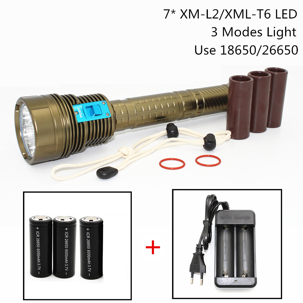 New LED Diving Flashlight 7 x XML T6 / L2 7000LM/8400LM LED Flash Light Underwater 100M Waterproof Lamp Torch Use 18650/26650 5x xml l2 12000lm led waterproof diving flashlight magswitch diving torch lantern led flash light 2x18650 battery charger