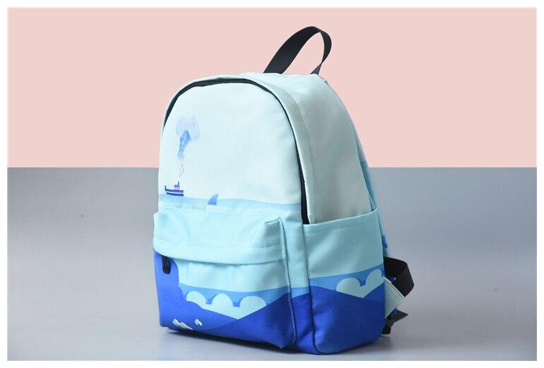 HTB12fXiVQzoK1RjSZFlq6yi4VXaz Moon Wood Original Design Black Blue Print Sea Moon Backpack Women Casual Canvas Backpack School Bags For Teenager Girls Sac