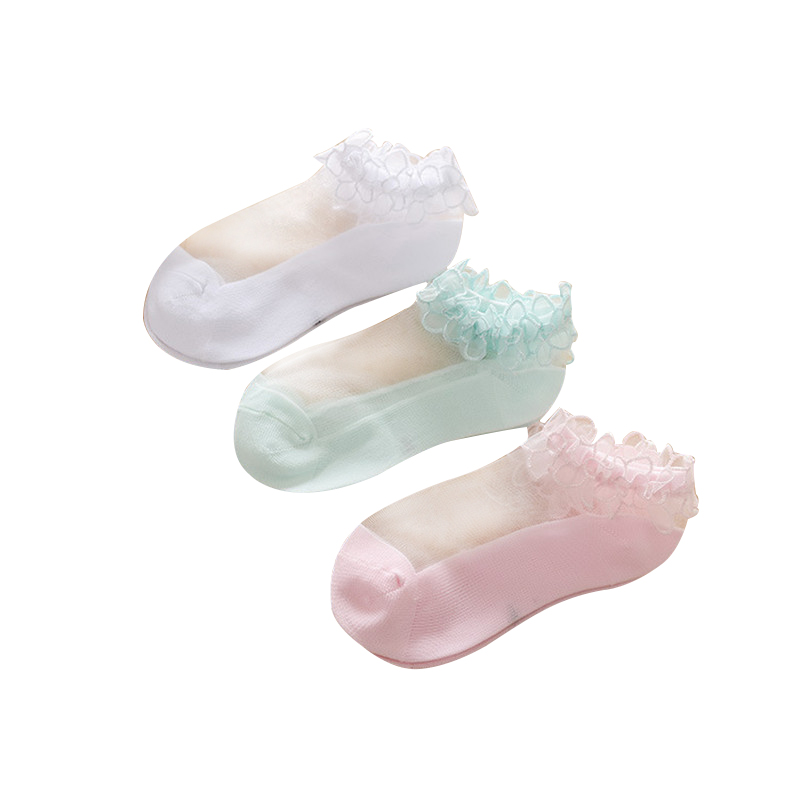Kids Socks New Summer Baby Girls Lace Pure Color Lace Silk Boat Socks Children's Mesh Socks Thin Crystal Invisible Socks