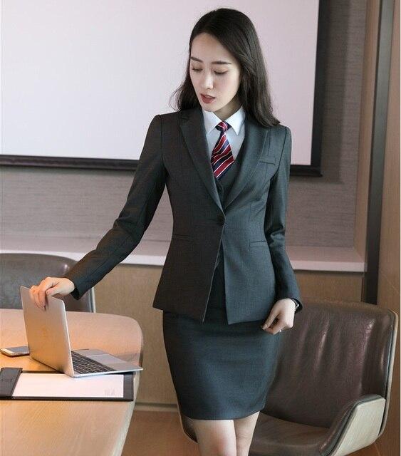 Formal Wanita Abu-abu Blazer Wanita Bisnis Pakaian Kantor Resmi Bekerja  Memakai Seragam Rok dan 49b1686e2d
