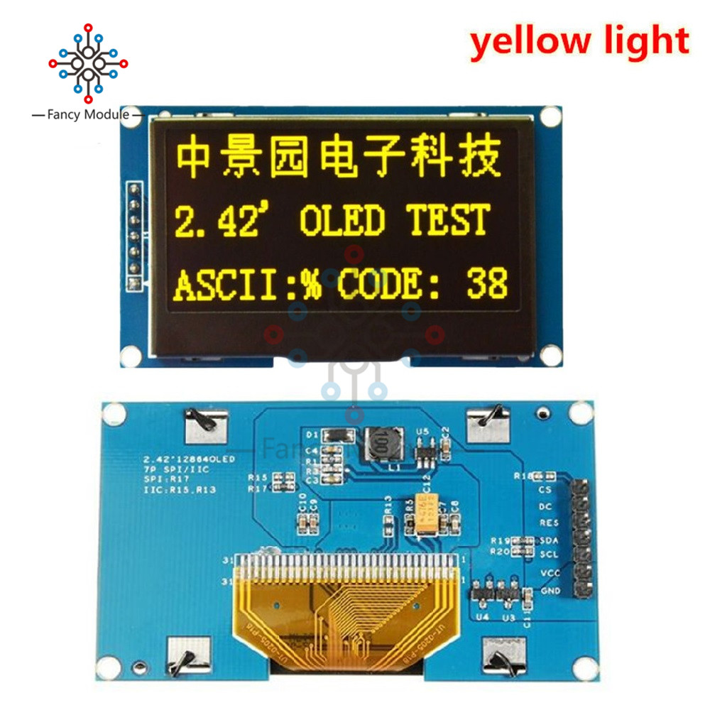 2 42 Inch LCD Screen 12864 OLED Display Module IIC I2C SPI Serial C51 STM32  SSD1309 for Arduino 128X64 White/Blue/Green/Yellow