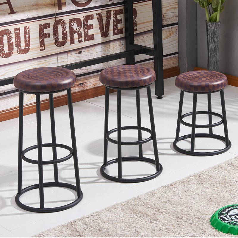 Retro Bar Chair High Stool Iron Bar Stool PU Wear Resistant Mobile Phone Shop Stool Craft Style Ktv Bar Stool Game Hall Chair