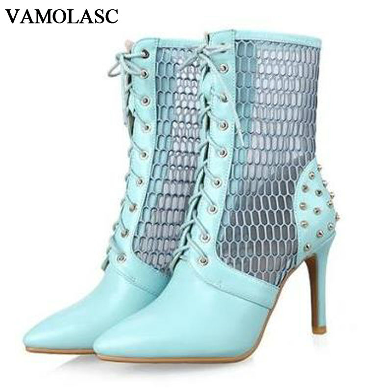 VAMOLASC New Women Summer Leather Ankle Boots Sexy Rivets Lace Up Thin High Heel Martin Boots Pointed Toe Hollow Out Women Shoes jialuowei women sexy fashion shoes lace up knee high thin high heel platform thigh high boots pointed stiletto zip leather boots