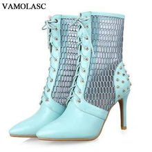 VAMOLASC New Women Summer Leather Ankle Boots Sexy Rivets Lace Up Thin High Heel Martin Boots Pointed Toe Hollow Out Women Shoes