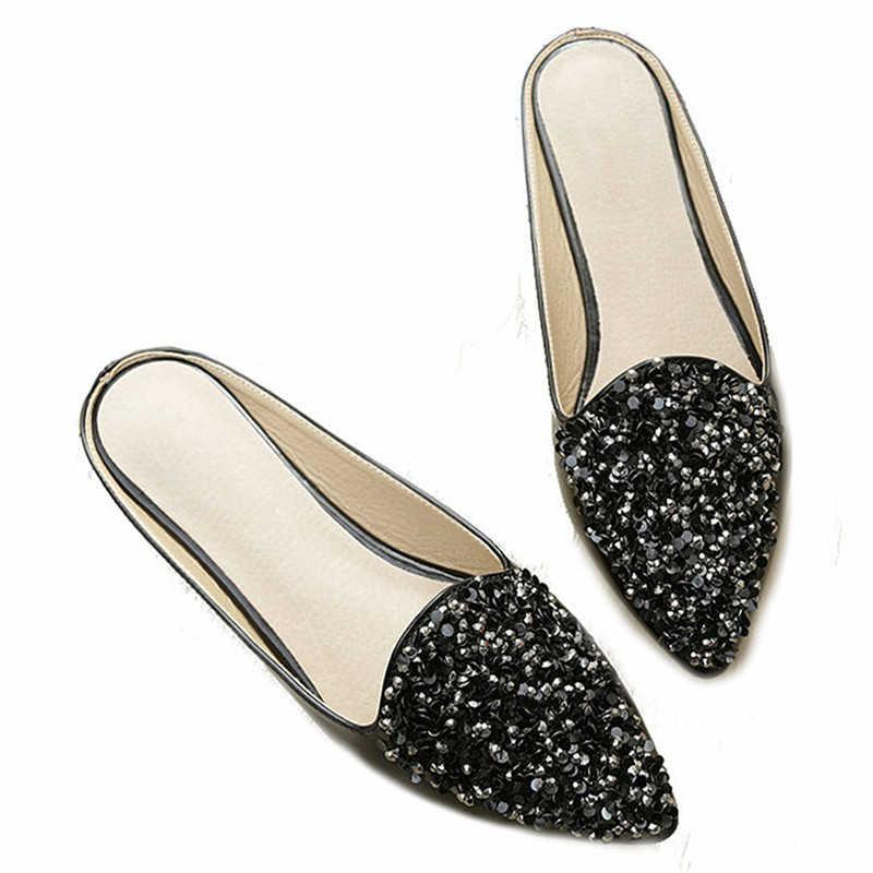 Timetang nova casual feminino chinelos tamanho grande 43 plutônio salto sapatos primavera mulher moda bling chinelos ponto dedo do pé preto branco c100