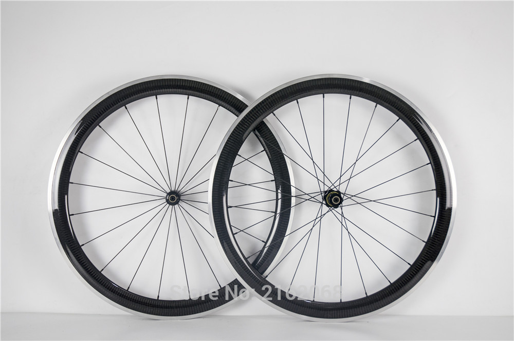 Newest light 700C 50mm racing Road bike 3K twill carbon fibre clincher rims bicycle wheelset with