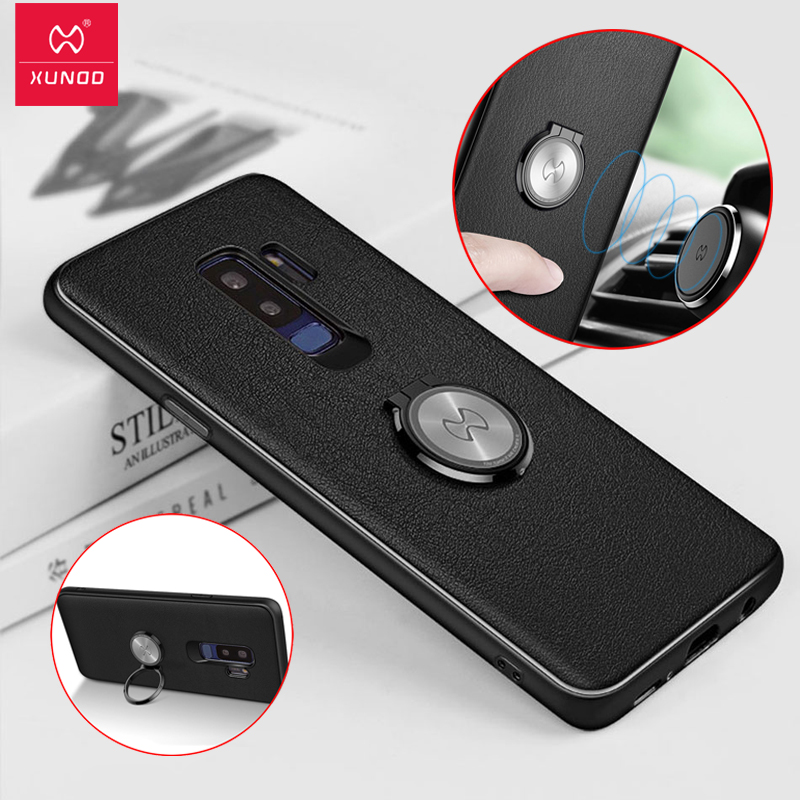 lowest price 6dd2a 5a124 US $8.35 35% OFF|Xundd Metal Ring Holder Case For Samsung Galaxy S9 S9 Plus  Note 8 Frosted Shockproof cover case fit for Magnetic car holder-in Fitted  ...