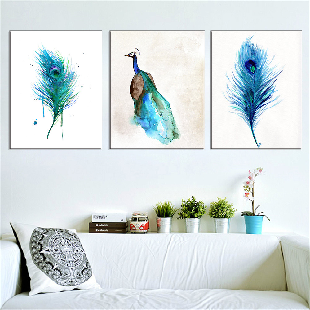 Leinwand Malerei Pfau Wand Bilder Cuadros Dekoration Wohnkultur Blau Lgemlde Fr Wohnzimmer Moderne Kein Rahmen 3