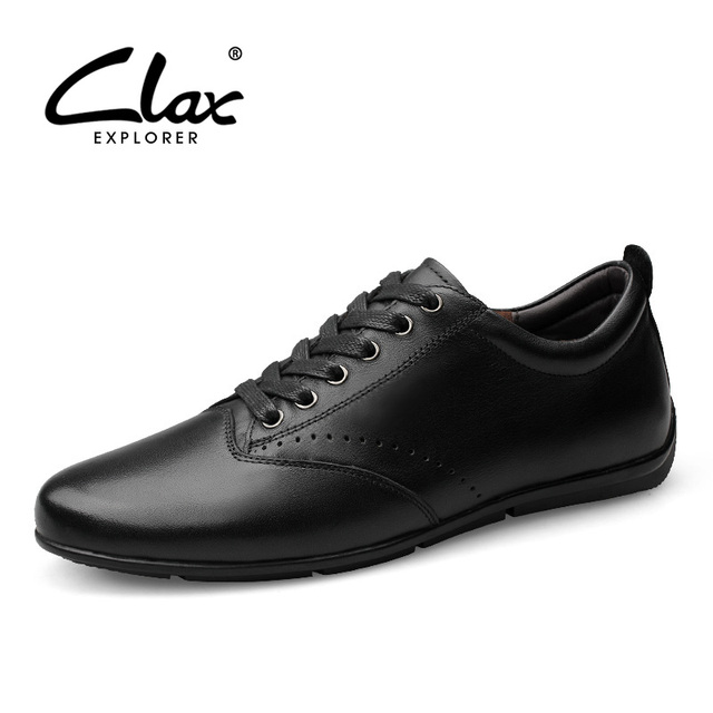 Clax Men Leather Shoe Genuine Leather Designer Flat Leisure Shoes Casual British Dress Shoe Wedding Handmade Comfortable