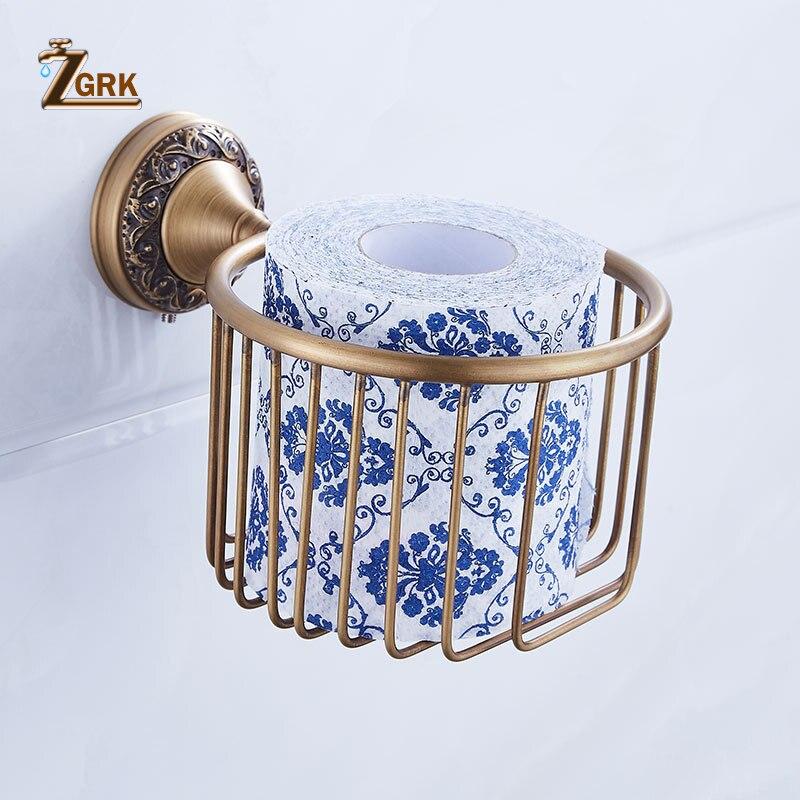 ZGRK All Copper Brushed Bathroom Series European Modern Towel Ring Toilet Paper Holder Cup Holder Robe Hook Bathroom Hardware