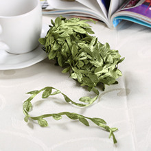 50pcs  Artificial rose flower leaves nylon stocking made green Leaves For Wedding Decoration DIY Wreath
