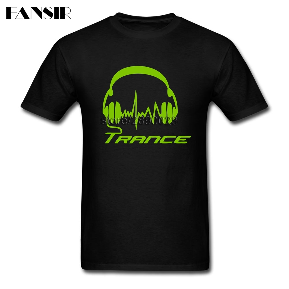 Homme T-shirts Men's Trance Headphones Men T-shirt 100% Cotton Short Sleeve Team Tops Tee