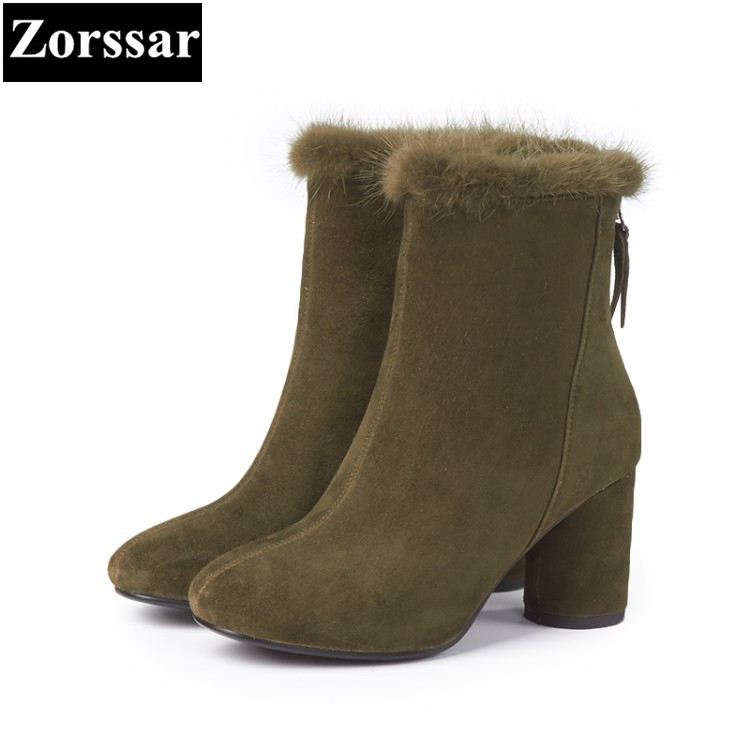 {Zorssar} 2018 hot sale NEW arrive fashion Kid Suede short boots for women High heels ankle boots Round Toe winter women shoes hot sale open front geometry pattern batwing winter loose cloak coat poncho cape for women