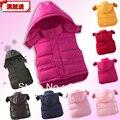 Envío gratis Retail 2015 nueva otoño invierno chaqueta de ropa de bebé niños abajo y parkas chaleco niños sudaderas con capucha caliente abajo chaleco