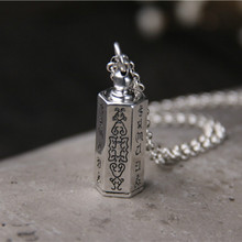 все цены на 925 Silver Buddha Pendant For Necklace Jewelry Six Words of Mantra Gawu Box Bottle S925 Silver Sterling Pendants Women Men онлайн
