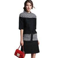 Top Fashion Women Woolen Dress 2016 Fall New Arrival Stitching Ladies Casual Dress Brand Elegant Dresses
